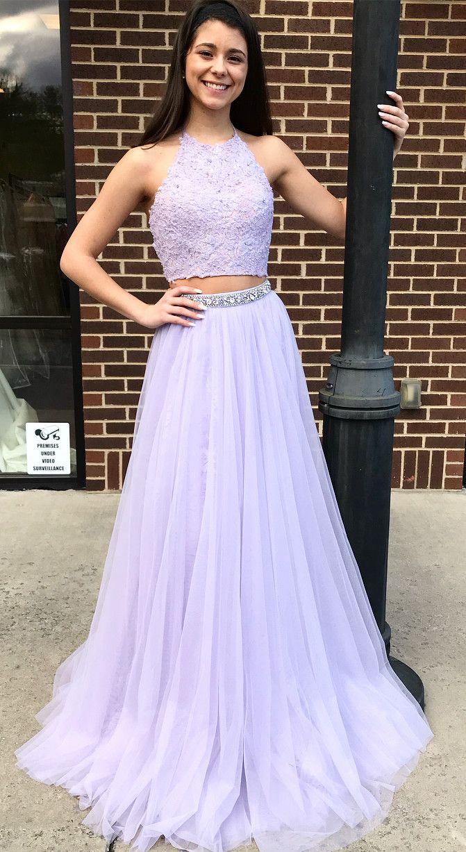 Two piece halter lavender long prom dress vestidos pinterest