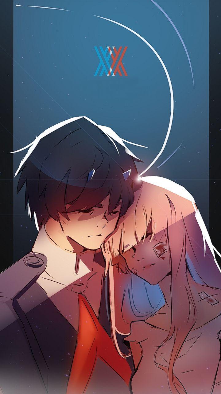 720x1280 Hiro And Zero Two Love Anime Couple Hug Art Wallpaper Darling In The Franxx Anime Art Wallpaper