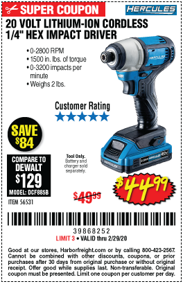 Hercules 20v Lithium Cordless 1 4 In Hex Compact Impact Driver For 44 99 In 2020 Impact Driver Harbor Freight Tools Hercules