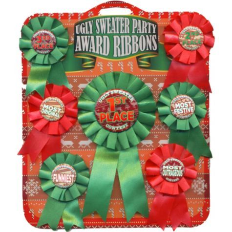 Ugly Sweater Party Award Ribbons 7ct Party City Christmas Party