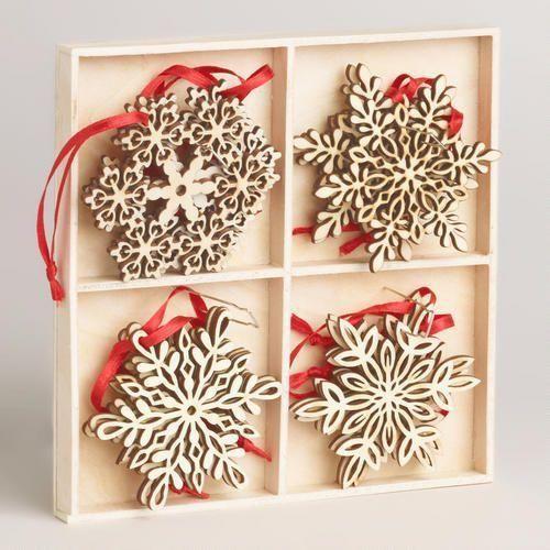 Wood Laser-Cut Snowflake Ornaments, Set of 12