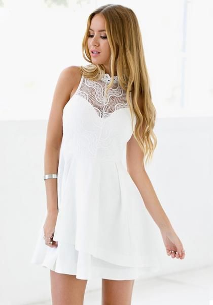 Sexy lady in white lace illusion neck dress   SHOP $24.00   ♦F&I♦