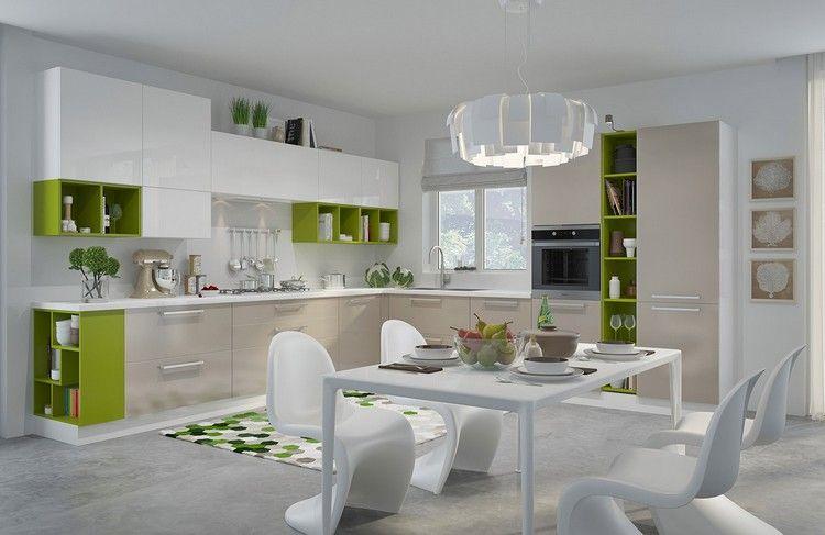 modèle de cuisine moderne avec meubles en bois, accents verts ...
