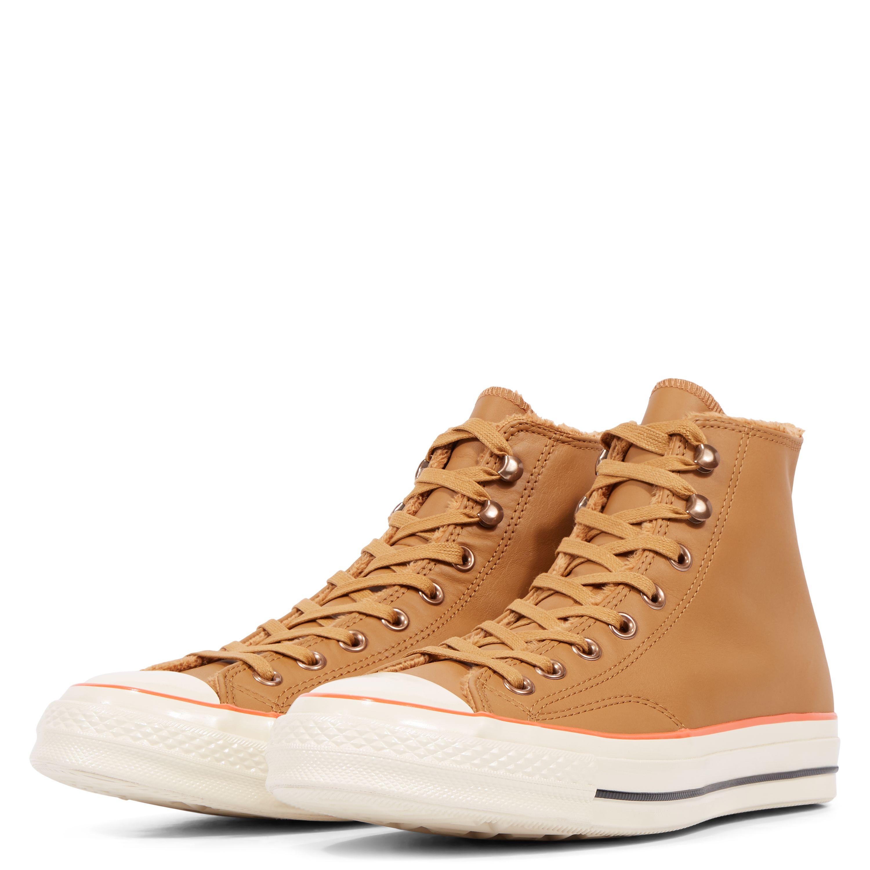 Converse Chuck 70 Street Warmer Leather High Top Burnt Caramel Bright Poppy 15bc71278
