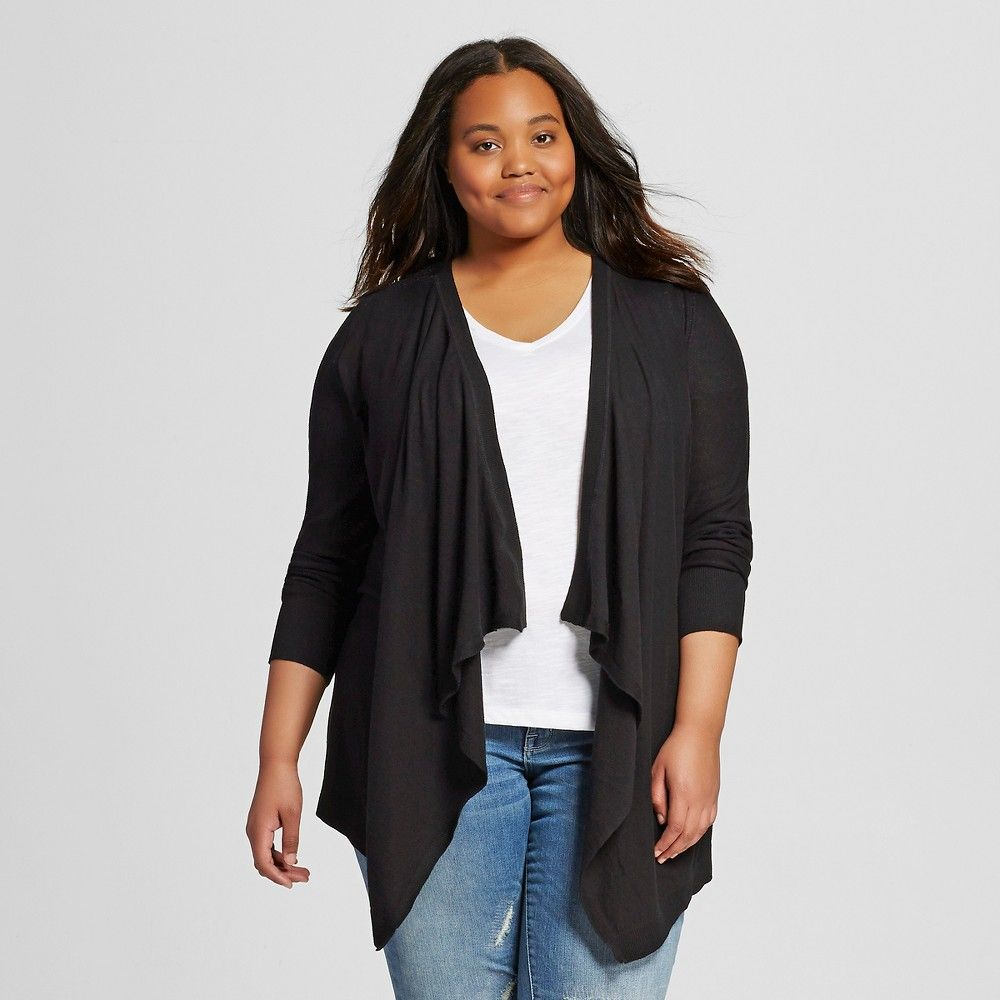 Women's Plus Size Long Sleeve Cardigan with Lace Back Black