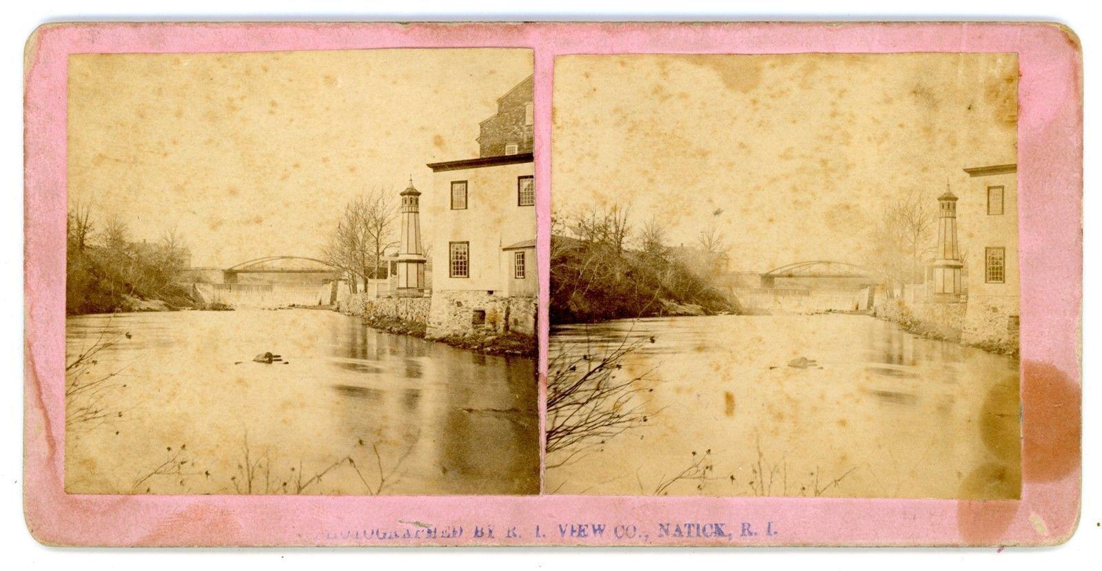 Natick Ri Below The Iron Bridge C1870s Stereoview Rhode Island Ebay