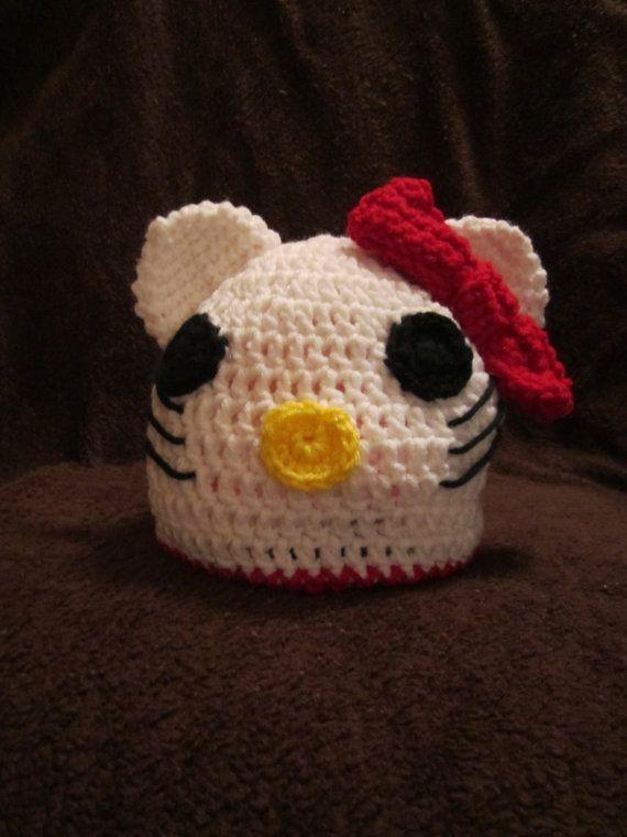 Hello Kitty Crochet Hat by bbraye on Etsy, $25.00