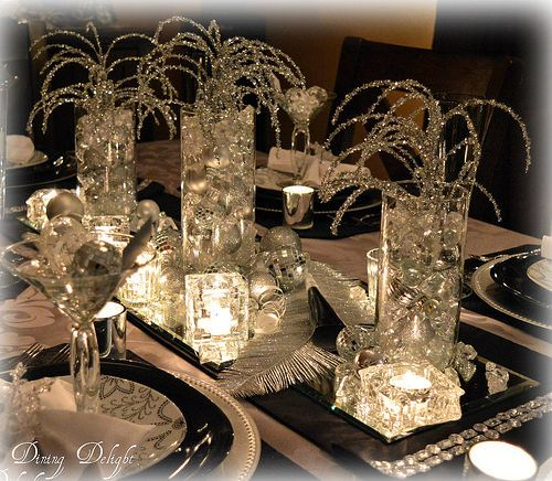 Dining delight new year 39 s eve table inspiration holiday for Silver centerpieces for dining table