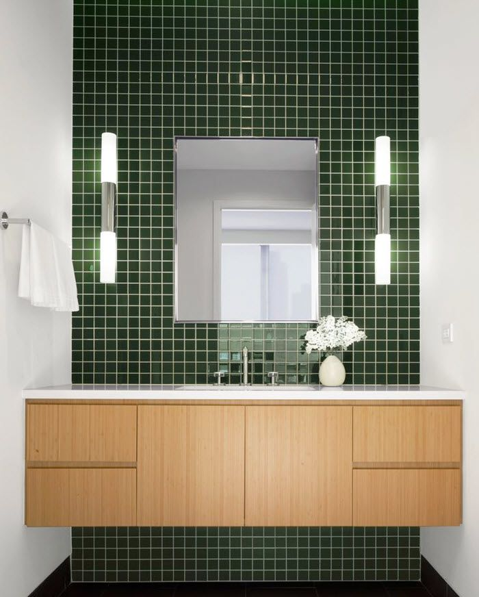1 Mln Bathroom Tile Ideas Mcm Vanity Dark Green