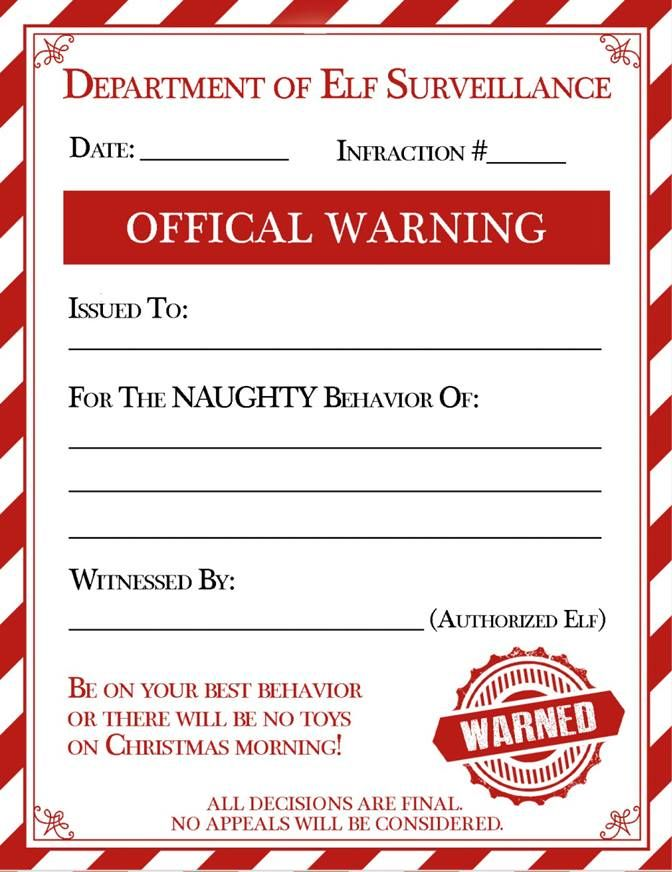 An elf warning for naughty kids make your elf on the shelf useful birthdays spiritdancerdesigns Images