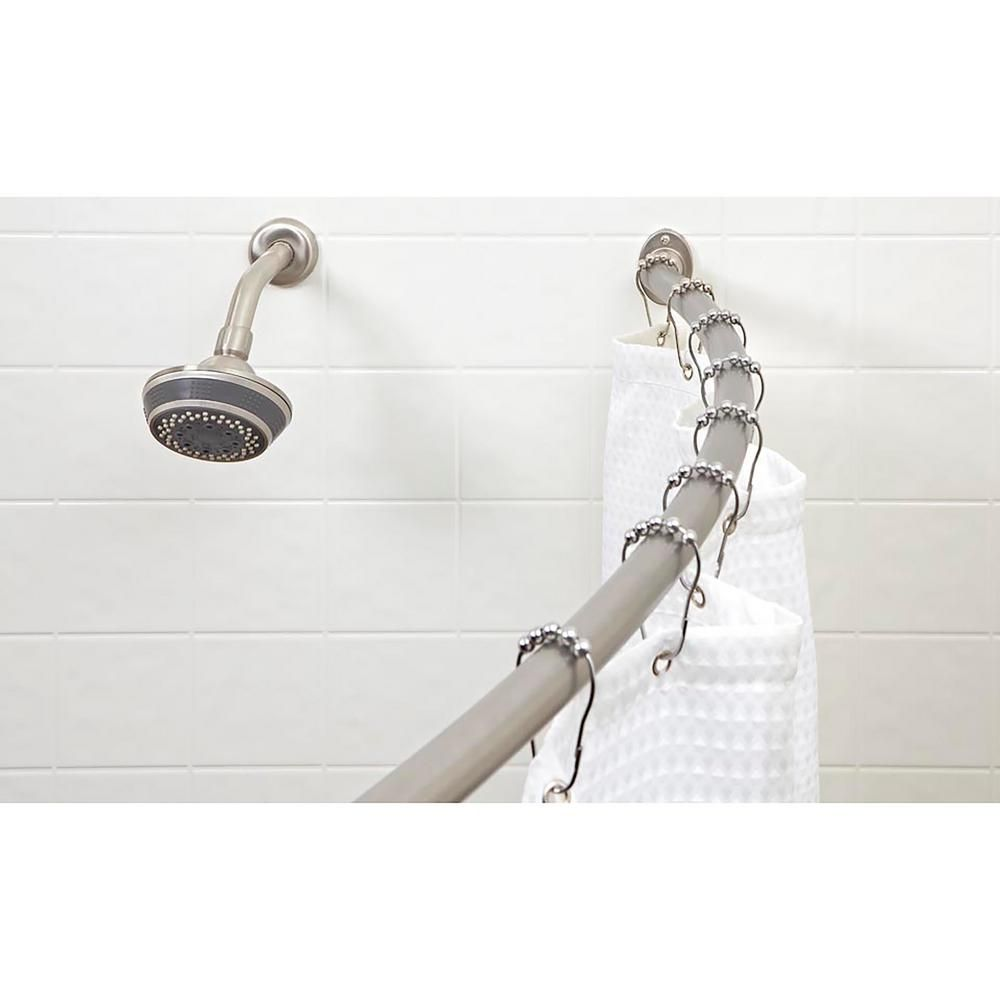 Bath Bliss Curved Wall Mounted Rod In Satin Nickel 5891 Sat