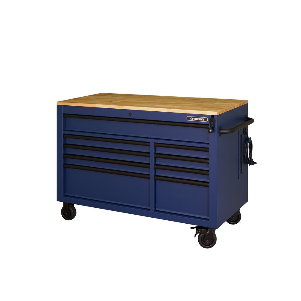 Husky Heavy Duty 52 In 9 Drawer Mobile Workbench With Adjustable Height Solid Wood Top In Matte Blue Holc5209bl1m The Home Depot In 2020 Mobile Workbench Tool Storage Cabinets Workbench