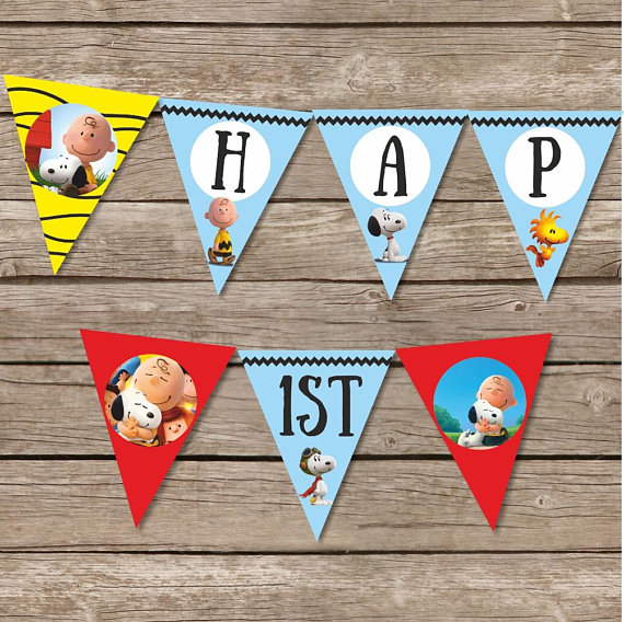 Snoopy Birthday Banner, Charlie Brown Birthday Flags