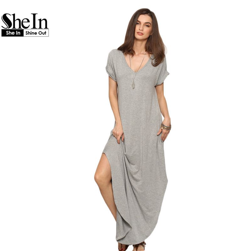 529ba22dfdaca Casual Shift Dresses Split Maxi Dress | Women Fashion | Dresses