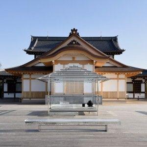 tokujin yoshioka installs glass tea house beside an ancient japanese