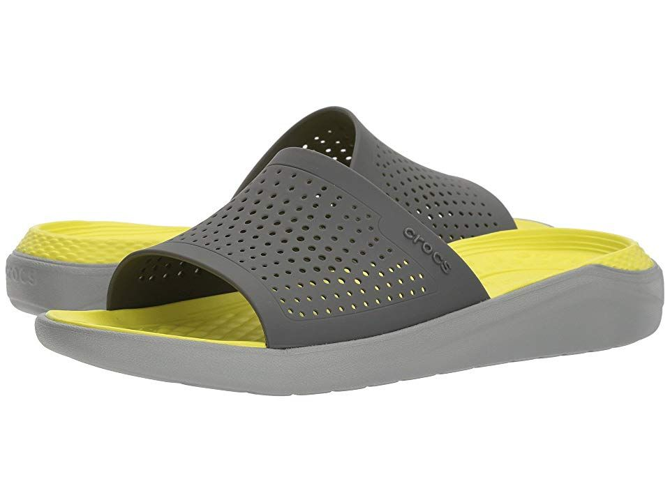 Crocs LiteRide Slide (Slate Grey/Light Grey) Shoes. The LiteRide Slide is part of the Crocs LiteRide Collection. Perfect for warm-ups and cool-downs and weekends bouncing around! Perf synthetic uppers for breathability. Easy slip-on style. Foam insoles are super soft and lightweight for a pleasurable walking experience. Synthetic outsole for all-day wear. Imported. Measurements: Heel Height: 1 1 2 in Weight: 7 oz Platform Heig #Crocs #Shoes #OpenFootwear #Comfort #Gray