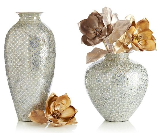 Short white silver mosaic vase home sweet home mosaic vase vase vases decor - Jarrones plateados ...