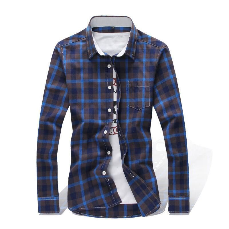 Brand Men's Shirts Casual Shirts Classic Lattice