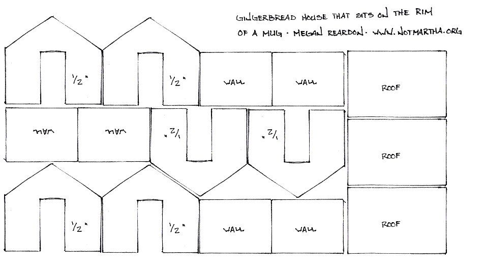 Template plan pattern for mini Gingerbread House that sits on the ...