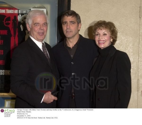 """George Clooney with father Nick Clooney and Mother at the """"Confessions of a Dangerous Mind"""" Premiere Mann Bruin Theatre Westwood, CA December 11, 2002"""
