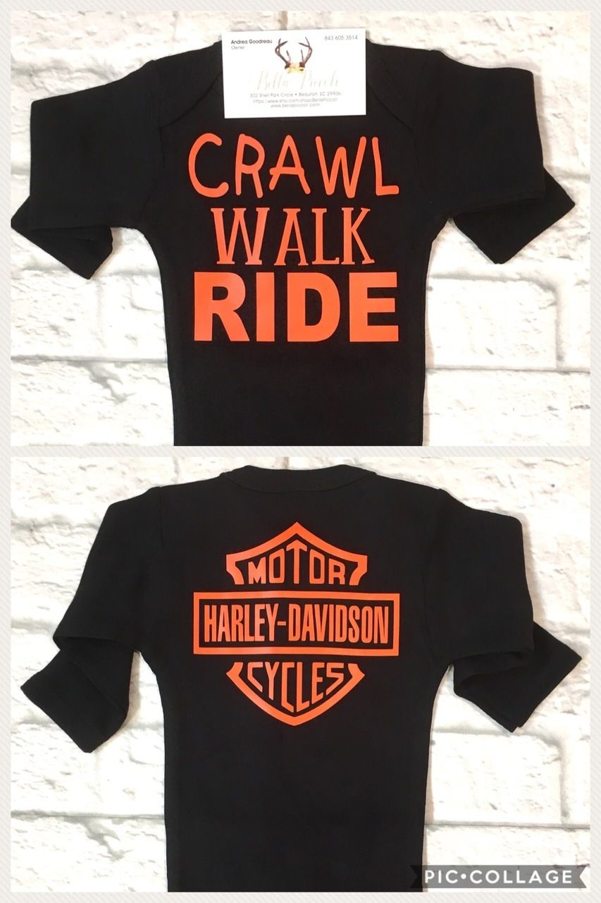 Baby Boy Clothes Baby Harley Davidson Onesie Harley Davidson Baby Shirt Crawl Walk Ride Onesie Harley Davidson Harley Davidson Baby Harley Baby Baby Shirts