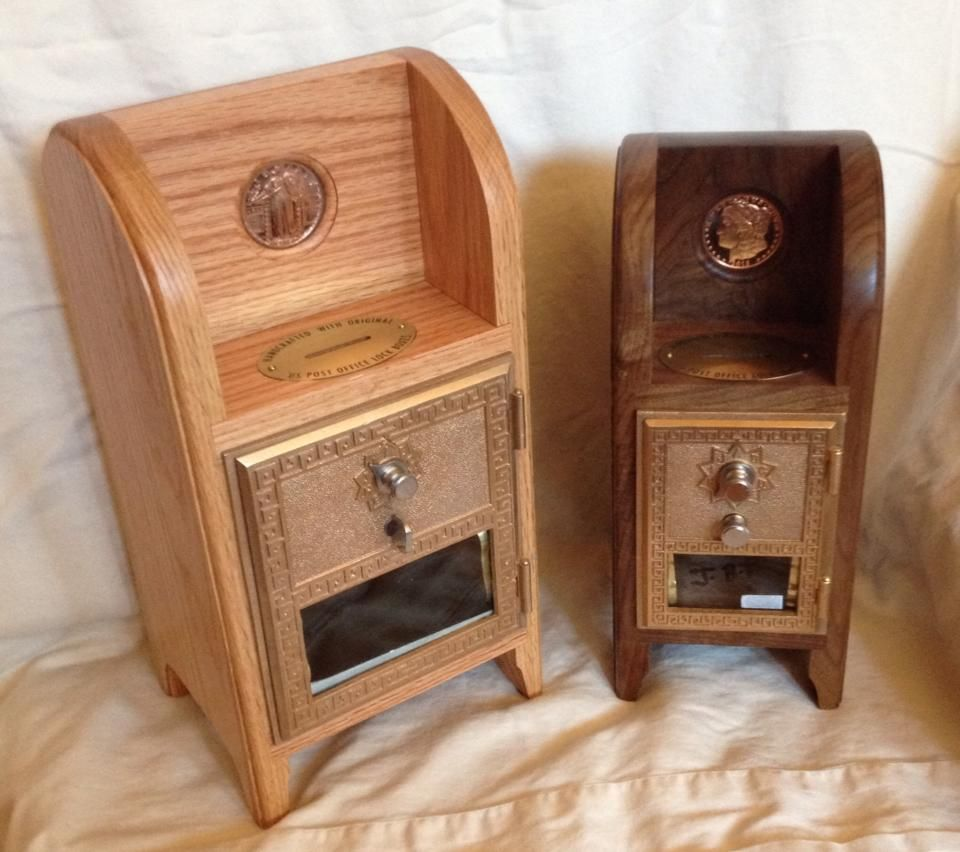 Handcrafted Post Office Coin Banks with vintage Post Office Box Doors. - Handcrafted Post Office Coin Banks With Vintage Post Office Box