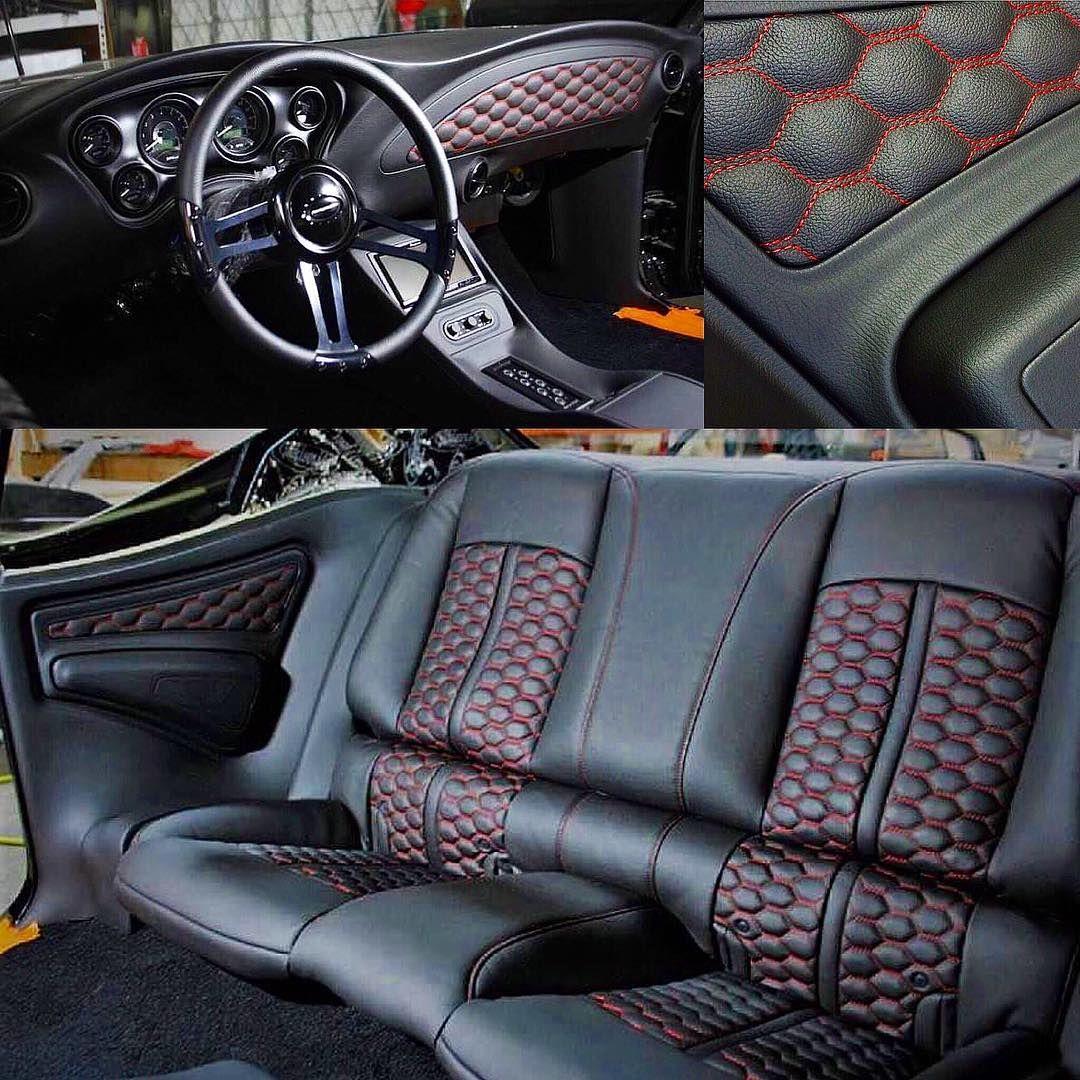 Chevelle becausess custom the shop llc custom interior door panels dash black red burgundy custom interior stitch console