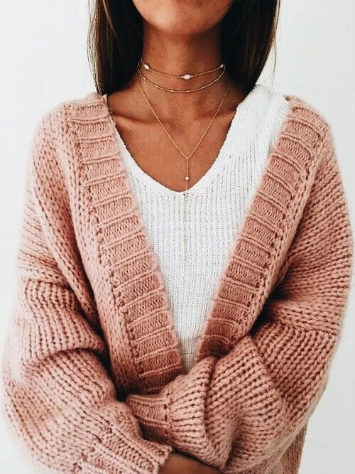 df0de437a Cozy  blush pink knitted cardigan with white sweater and dainty ...