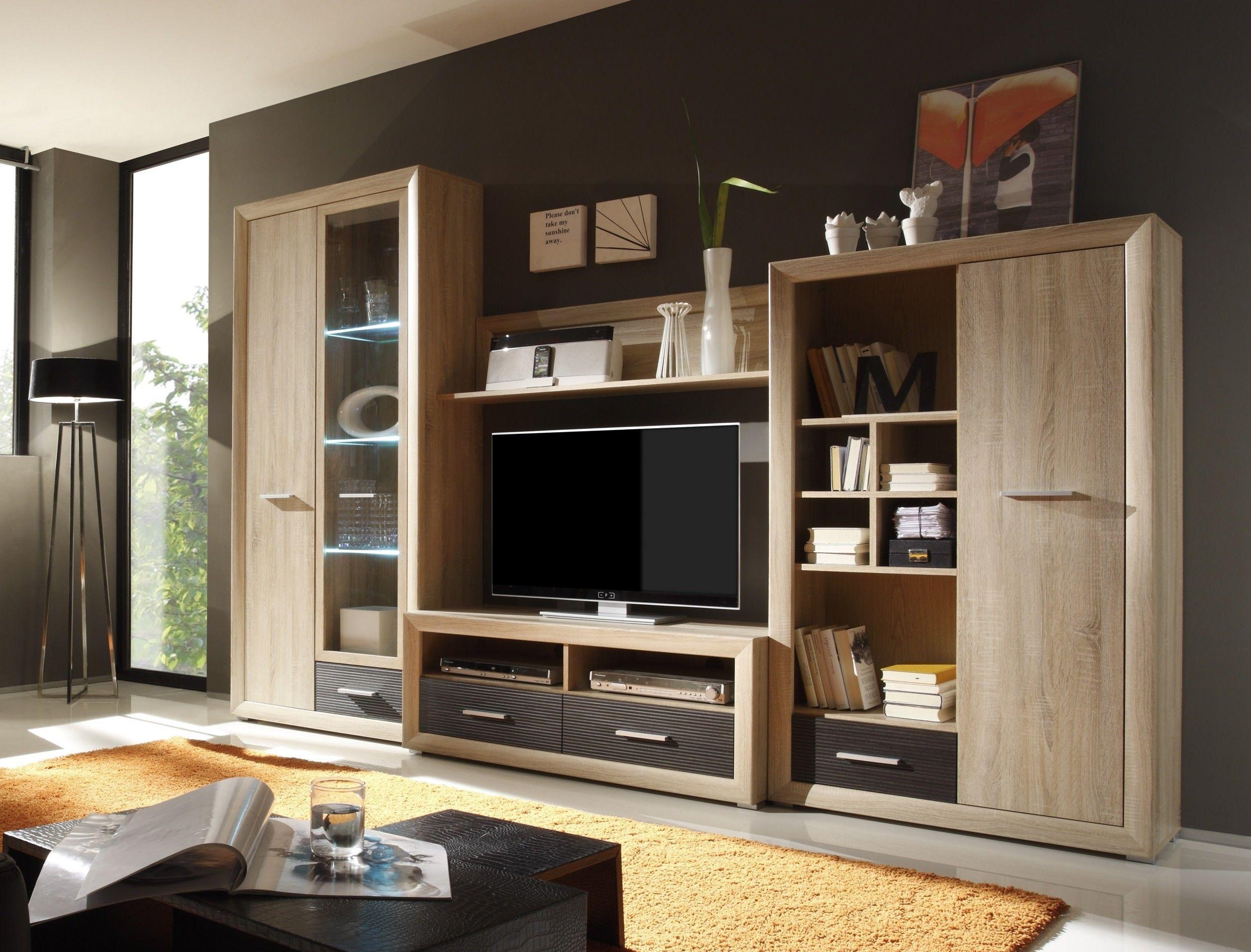 Wohnwand Sonoma Eiche Pinie Dunkel Mit Beleuchtung Woody 61 00071 Wohnwand Sonoma Eiche Moderne Wohnzimmergestaltung Wohnen