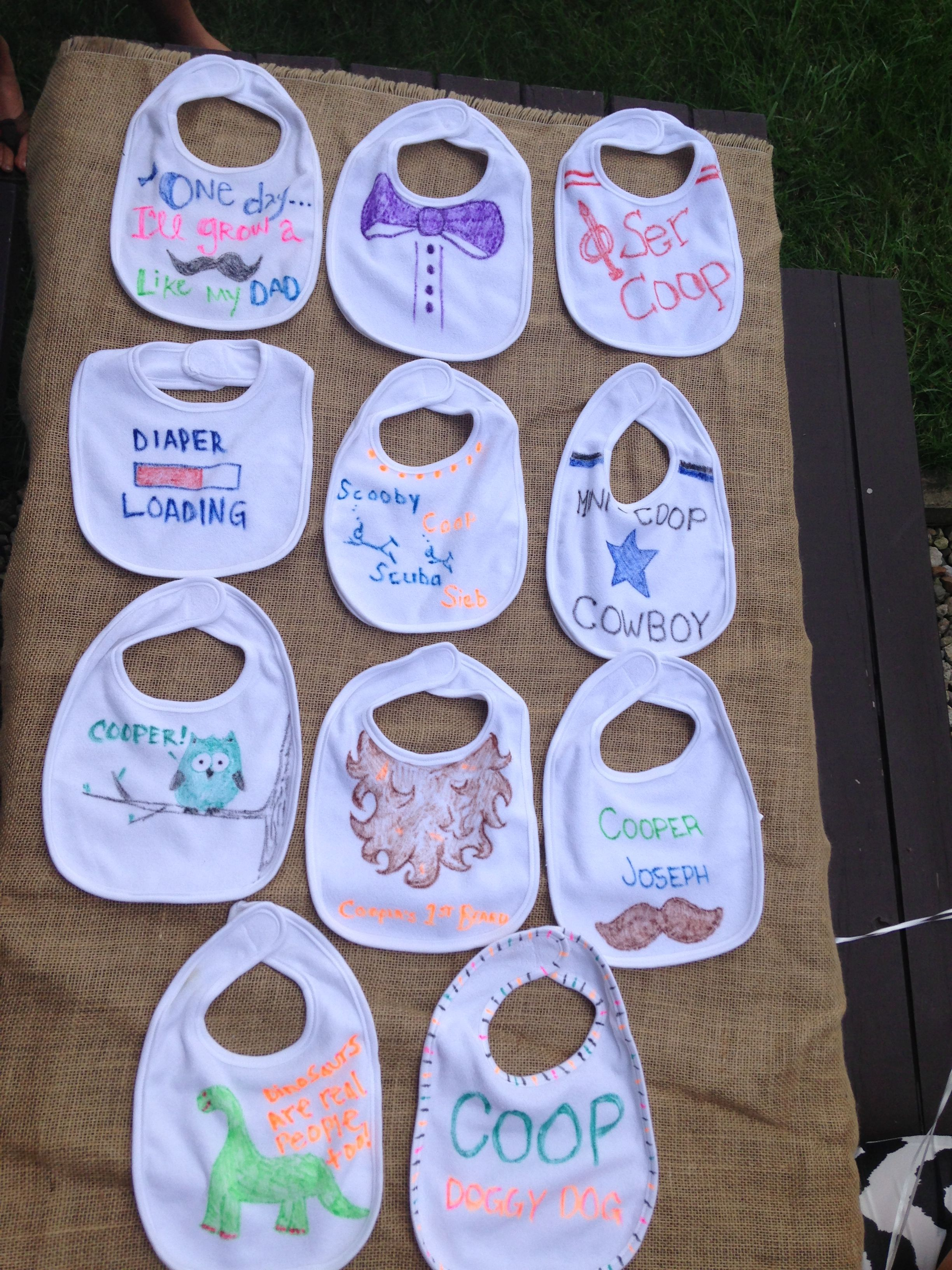 Decorate Baby Bibs Baby Shower Fun Each Guest Decorates A Onesie With Fabric Markers