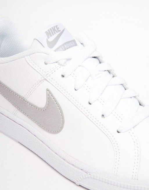 404d8ef5413 Shop Nike Court Royale Trainers in White and Silver at ASOS. Discover  Fashion Online