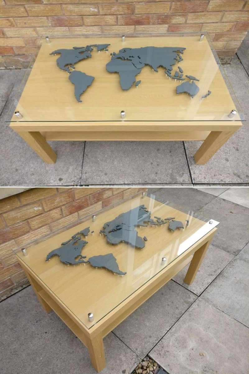 Diy Er Builds Coffee Table With Backlit World Map Beneath A Glass Top Coffee Table Glass Top Table Glass Top Coffee Table [ 1203 x 800 Pixel ]