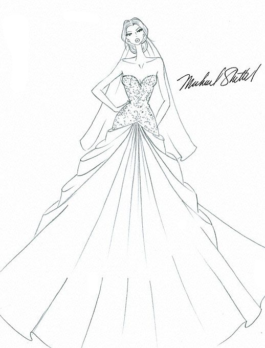 Wedding Dress Line Drawing : Kim kardashian s wedding gown dresses and style brides