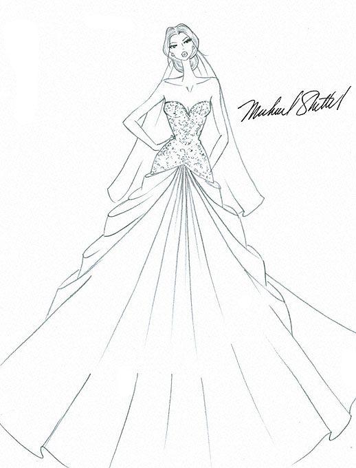 Designer Fantasy Sketches Kim Kardashian S Wedding Gown Dress Sketches Dress Design Drawing Fashion Sketches