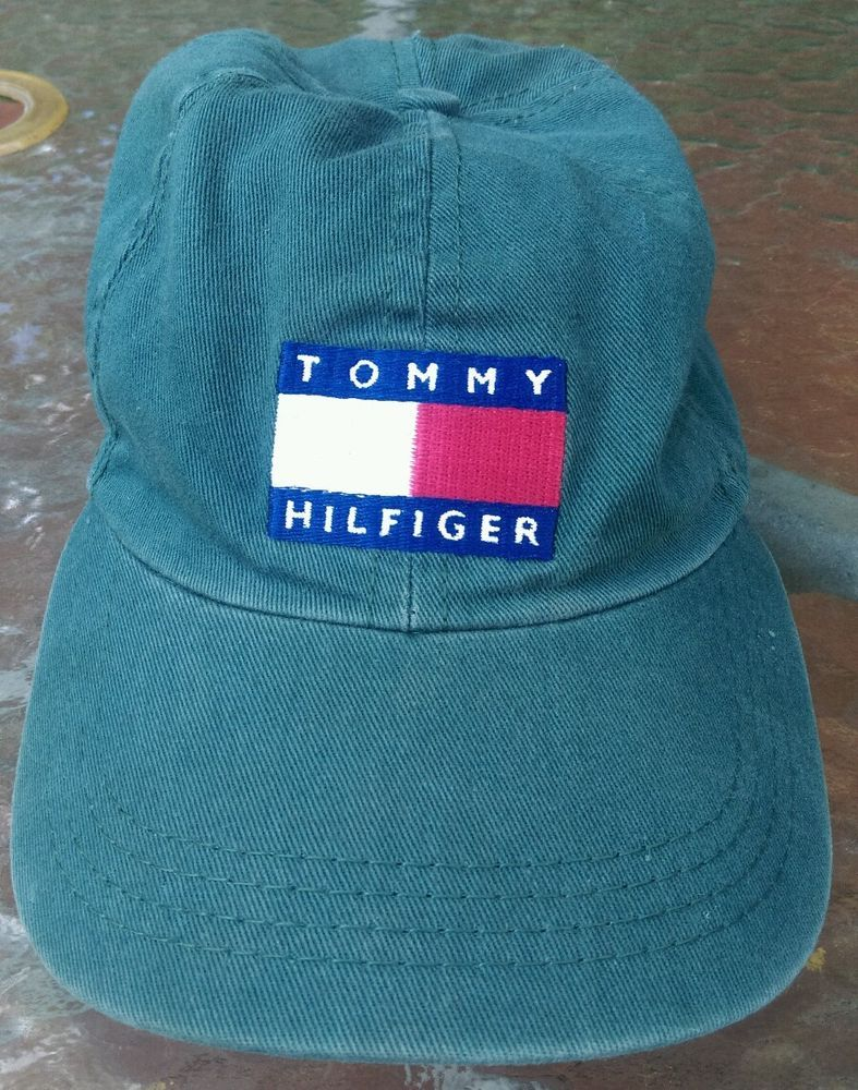 864538c3f5a Vintage 90 s Tommy Hilfiger Cap Baseball Hat 6 Panel Strap Back..Money  Green!!  TommyHilfiger  Baseball6PanelCap