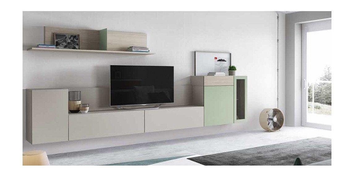 Mueble De Salon Con Modulos Suspendidos De Distintas Alturas En