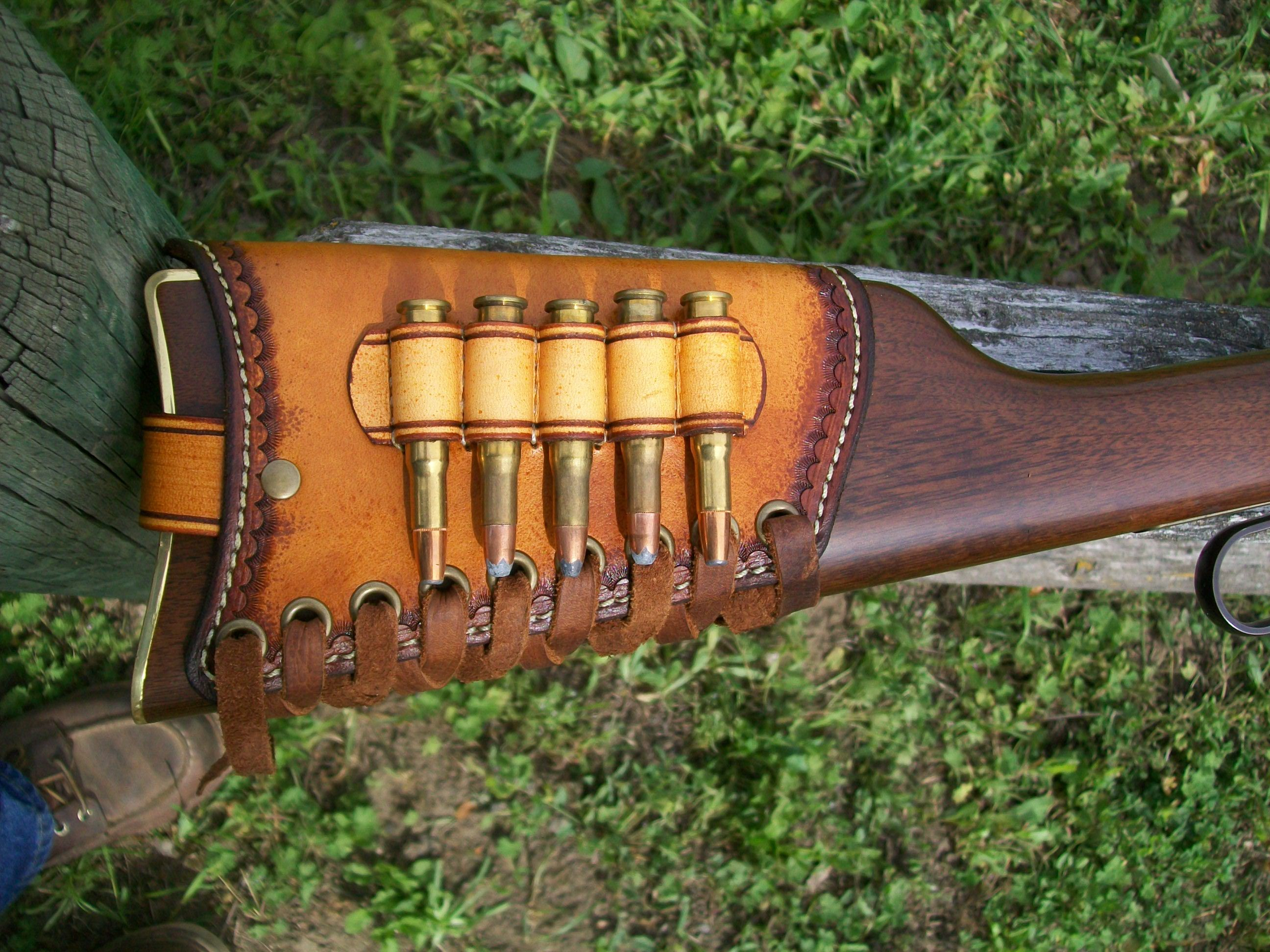 Buttstock shell holder right handed genuine leather holds 6 rifle cartridges