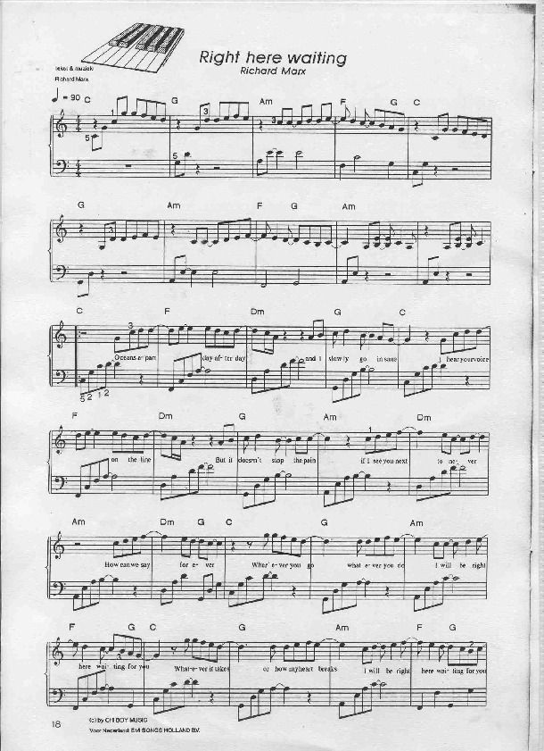Right Here Waiting Richard Marx Piano Sheet Preview Music