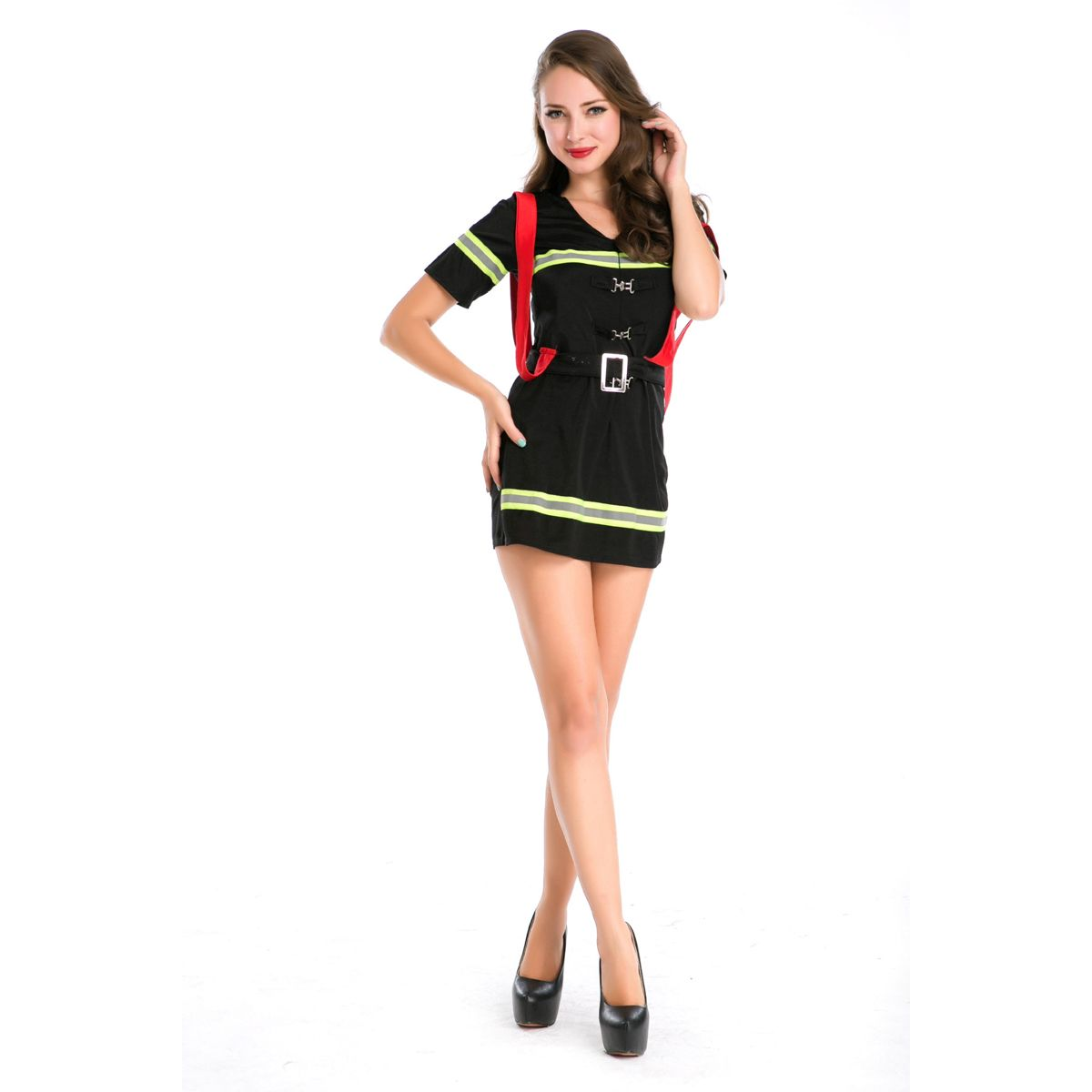 women's firewoman uniform cop costumes halloween party stage police