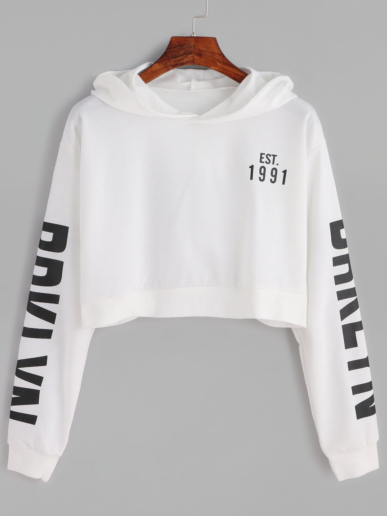 b917442df4 Shop White Letter Print Crop Hooded Sweatshirt online. SheIn offers White  Letter Print Crop Hooded Sweatshirt & more to fit your fashionable needs.