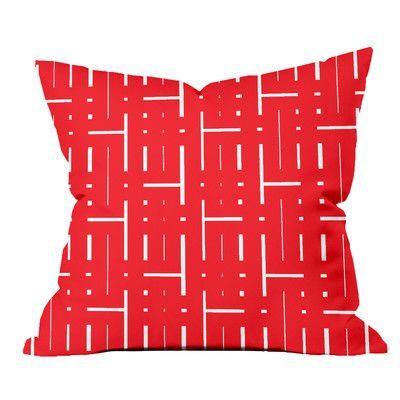 "SafiyaJamila Through the Lattice Geometric Throw Pillow Size: 18"" H x 18"" W x 2"" D, Color: Red"