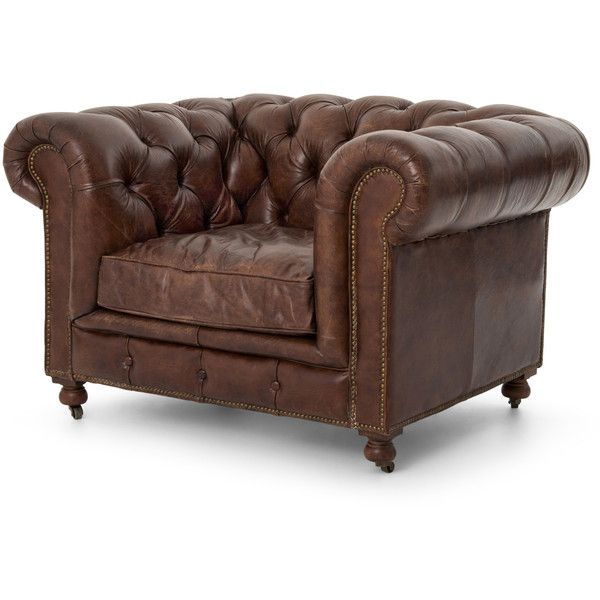 Ace Rustic Lodge Tufted Brown Leather Casters Armchair ($2,875) ❤ Liked On  Polyvore Featuring