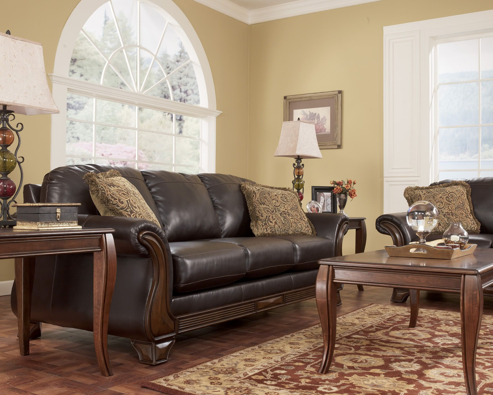 Details about Traditional Wood Trim Brown Fabric Sofa Couch ...