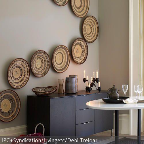 Wandteller aus bast im ethno look room ideas interiors and room - Wandteller modern ...