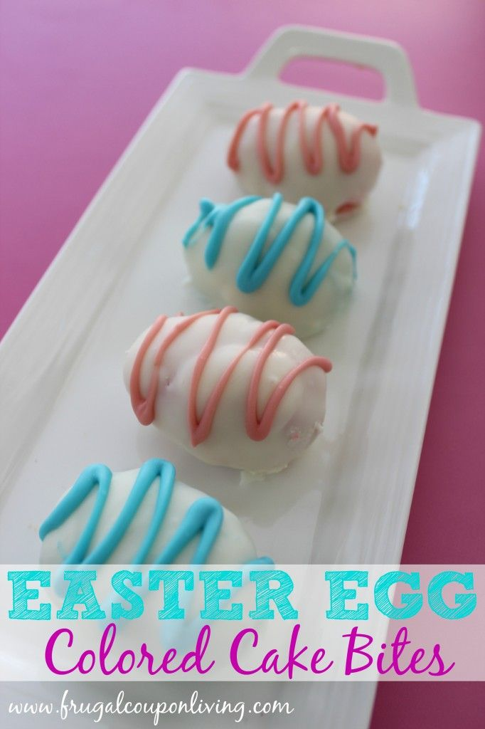 Easter Egg Cake Bites Recipe and Tutorial – Pink and Blue Cake Center #easter #cakebites #recipe #egg http://www.frugalcouponliving.com/2014/03/29/easter-egg-cake-bites/