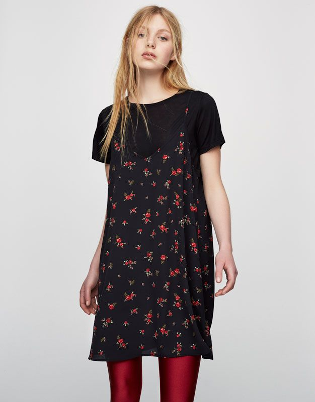 a81d14e739c45 Pull&Bear - woman - clothing - best sellers ❤ - floral dress with inner  shirt - red - 05394332-V2017