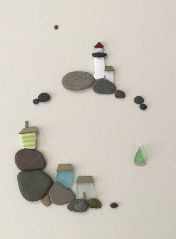 Photo of 12 von 16 Meer Seite Kunst mit Kieselsteinen Meer Glas und Meer Keramik von Sharon nowlan