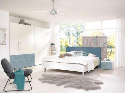 Schlafzimmer komplett Fronten alpinweiss/ Pacific blau Hochglanz - komplett schlafzimmer günstig