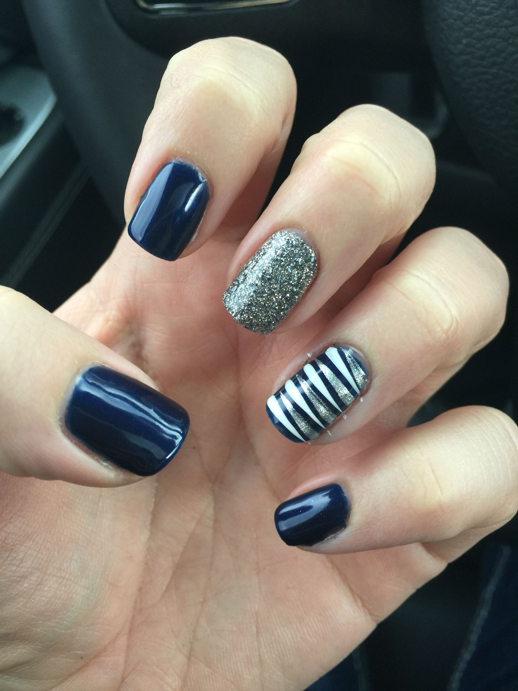 Navy Blue Nails Accent Nautical Real Gel