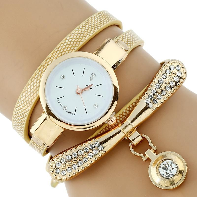 1969d299dd5  7.98 - Nice Gnova Platinum Fashion Luxury Brand New Women Rhinestone Gold  Bracelet Watch Pu Leather Ladies Quartz Casual Wristwatch - Buy it Now!